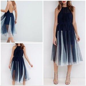 NWT ASOS  PREMIUM Halter Tulle Godet Midi Dress 10